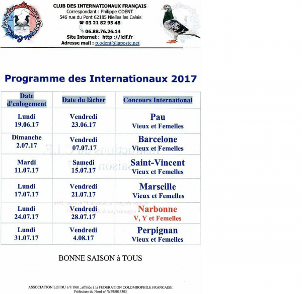 PROGRAMME DES INTERNATIONAUX 2017