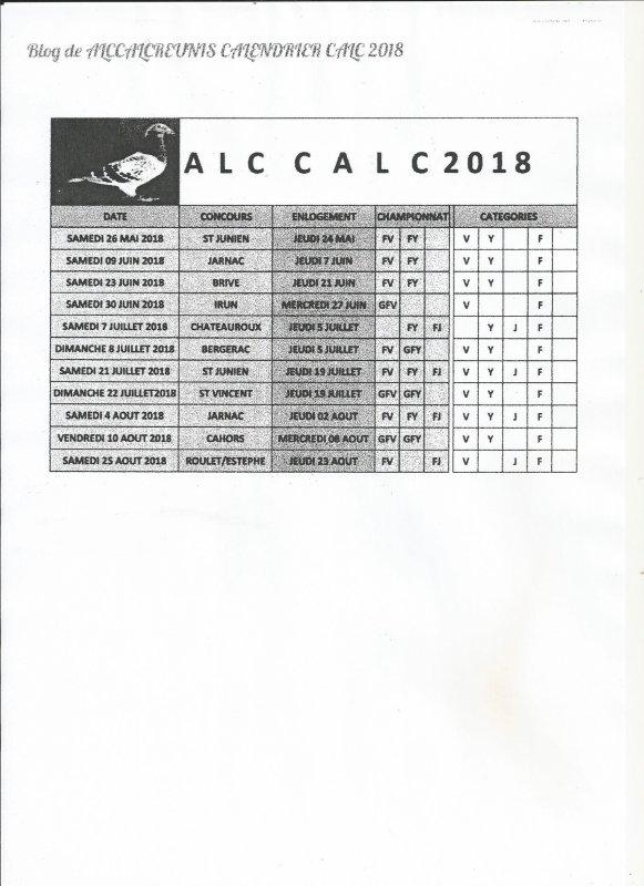 PROGRAMME DU ALC-CALC 2018