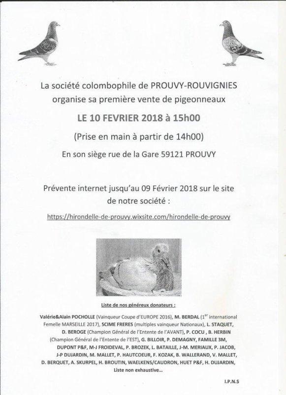 VENTE DE PIGEONNEAUX DE PROUVY-ROUVIGNIES LE 10 FEVRIER 2018