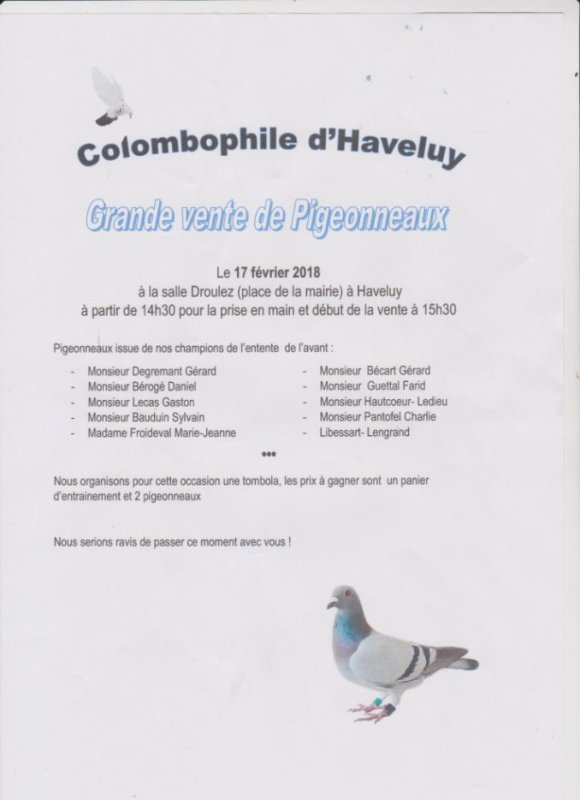 VENTE DE PIGEONNEAUX D'HAVELUY DU 17 FEVRIER 2018