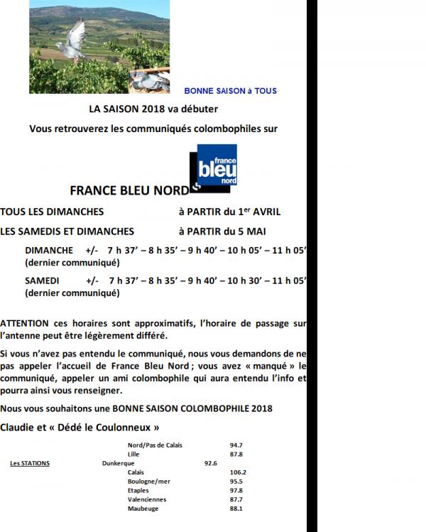 FRANCE BLEU NORD LES COMMUNIQUES POUR LA SAISON 2018