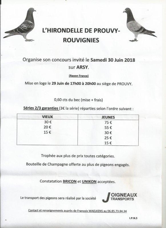 CONCOURS INVITE DE LA SOCIETE DE PROUVY-ROUVIGNY DU 30 JUIN 2018