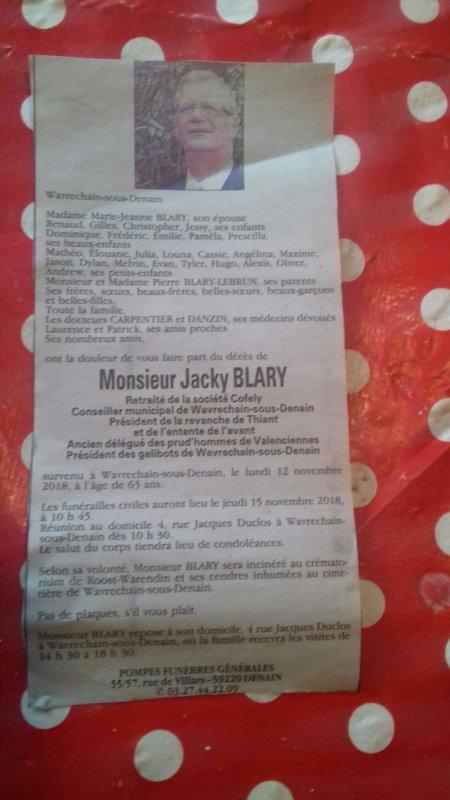 DECES DE MONSIEUR JACKY BLARY