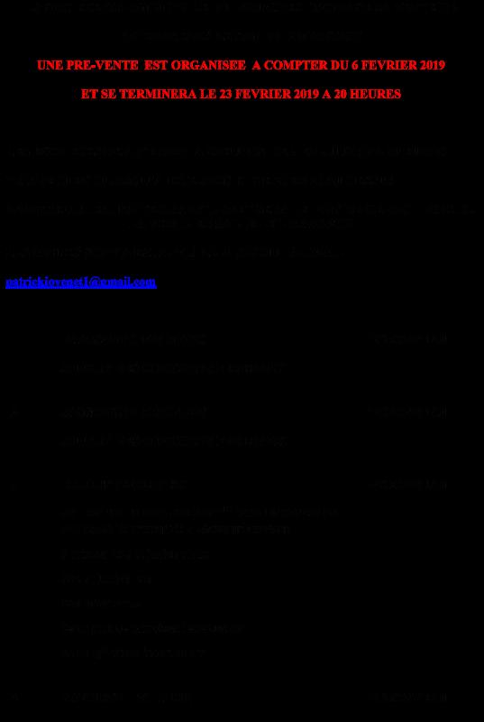 PRE-VENTE DE LA SOCIETE COLOMBOPHILE LE LOCAL UNIQUE DE LOURCHES DU 2 MARS 2019