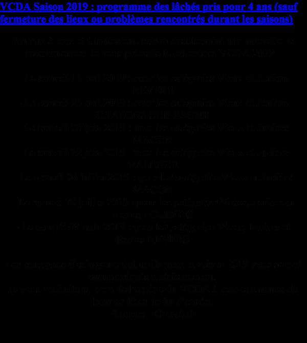 PROGRAMME DE L'ENTENTE DU HAINAUT  DES FEDERAUX  INTERNATIONAUX ET VCDA POUR LA SAISON 2019