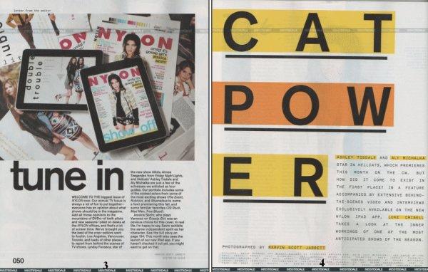 Découvrez les scans du magazine Nylon pour le mois de Septembre 2010. Ashley et Aly Michalka ont été photographiés par Marvin Scott Jarrett. Les photos sont vraiment sublimes !