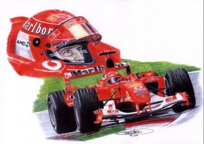 Dessin de la ferrari schumacher 2004 ing renault f1 team - Dessin de ferrari ...