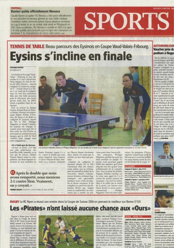 Article dans La Côte sur la participation Eysinoise aux finales AVVF