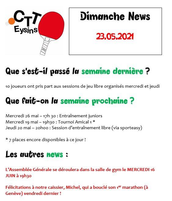 DIMANCHE NEWS - 23.05.2021