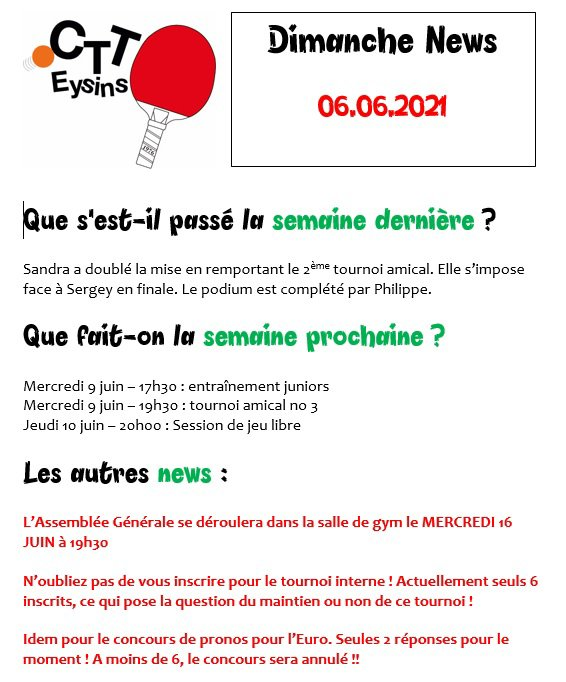 DIMANCHE NEWS - 06.06.2021