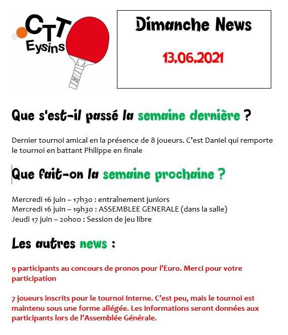 DIMANCHE NEWS - 13.06.2021