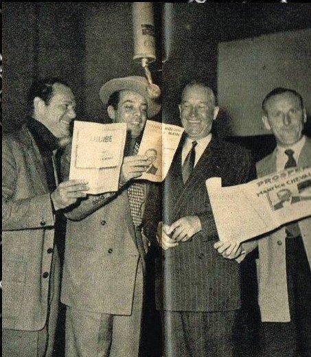 Georges Guétary, Eddie Constantine, Maurice Chevalier et Bourvil