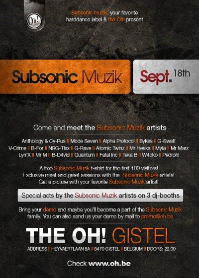 Subsonic Muzik @ The Oh! Gistel 18-09