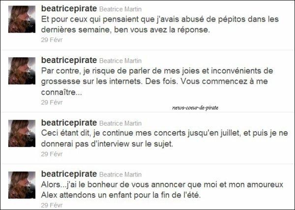 Coeur de Pirate a annoncé sur twitter qu'elle est enceinte de son copain, Alex. Le bébé est prévu pour la fin de l'été. Félicitations! ;)
