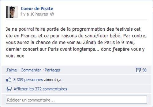 Coeur de Pirate a annocé sur les réseaux sociaux qu'elle ne serait pas présente aux festivals français.