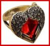 Produit n'54 : Bague Coeur rouge avec aile d'ange