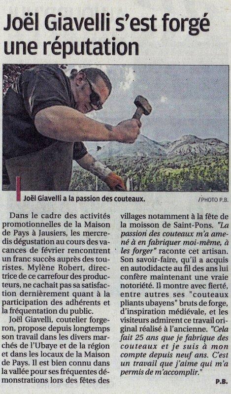 encart sur mon travail dans le journal de la provence