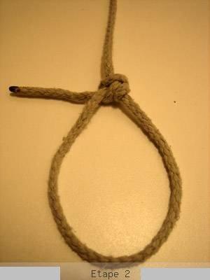 Les noeuds: Noeud coulant avec noeud de chaise