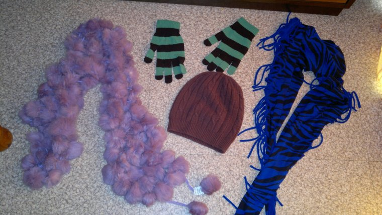 lot gant H&M, bonnet neuf, 2 echarpes neuves : 5 ¤