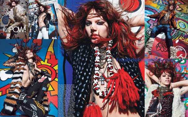 Freja : Photoshoot de Freja (avec Sasha Pivovarova) pour le W Magazine de Septembre