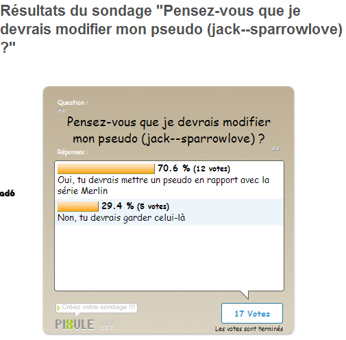 Résultat du sondage !