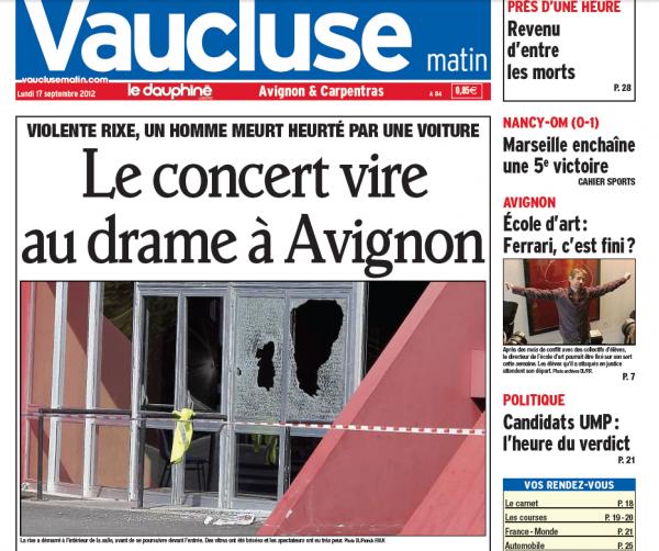 Avignon : Le concert vire au drame !