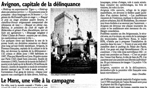 AVIGNON CAPITALE DE LA DELINQUANCE