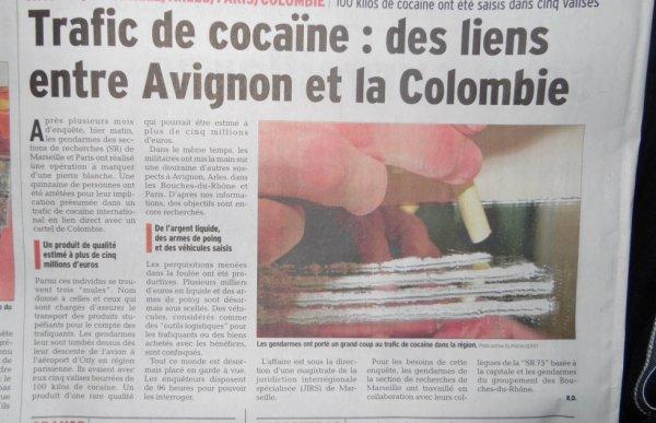 Avignon trafic de cocaïne 101 KG, lien avec les cartels Colombiens