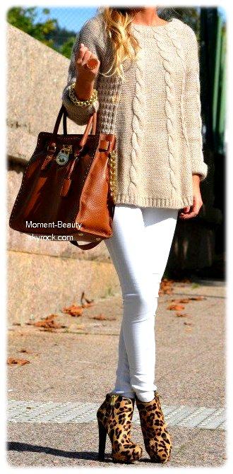 ♥ Léopard + Marron - Beige / Blanc  #Outfit 1