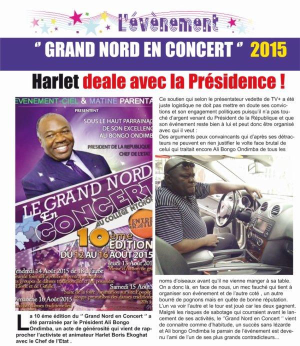 '' GRAND NORD EN CONCERT ''  2015 : Harlet deale avec la Présidence !