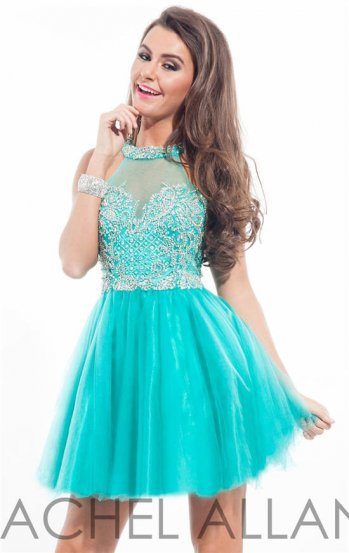 Rachel Allan 6649 Beaded High Neck Short Prom Dress