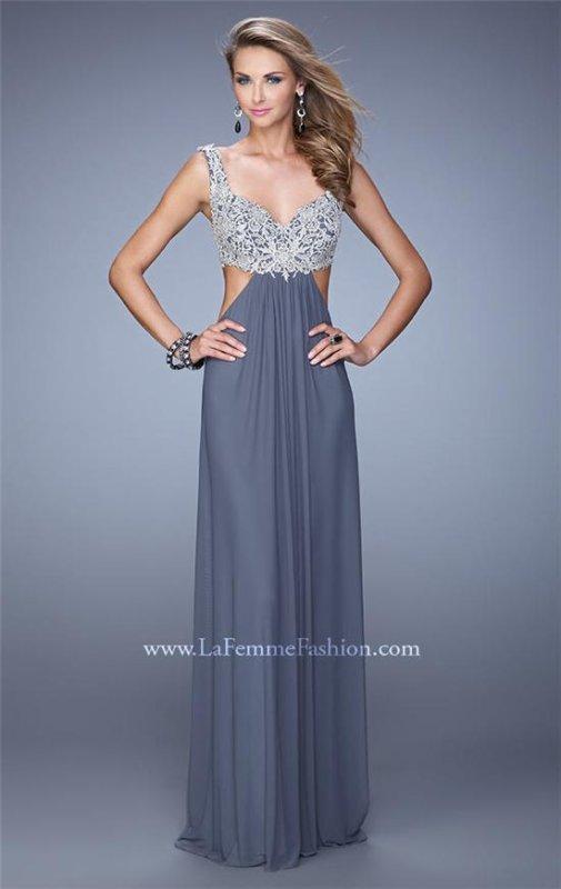 La femme 21329 stunning cutout embroidered prom dress ...