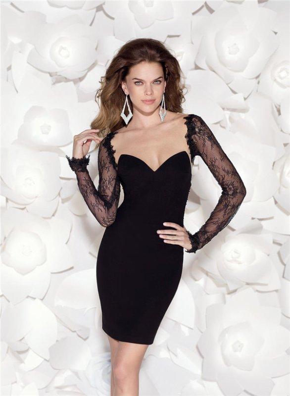 Tarik Ediz Black Lace Long Sleeve Party Dresses Longfellowwinnies