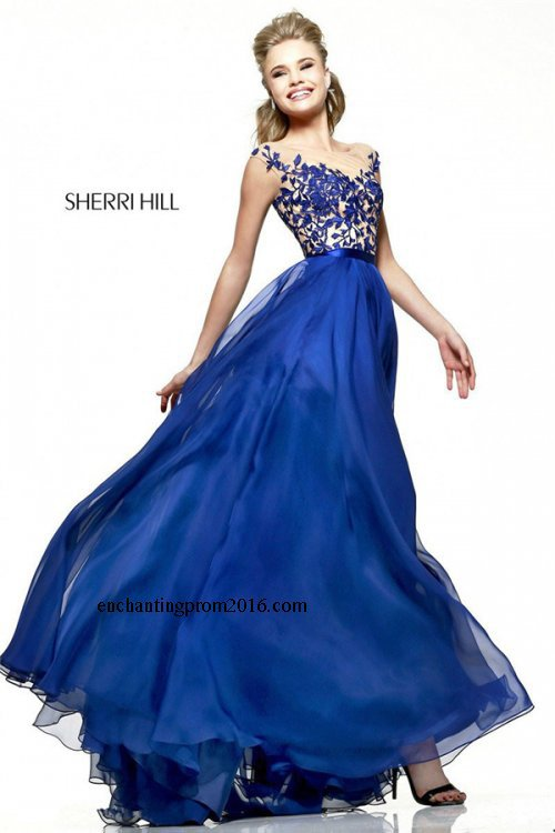 Blue Lace-Top Long Prom Dresses for