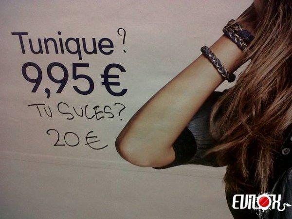 20 euros 9,95¤ le rapport sexuel ? Comment ça se passe, faut faire la queue ou prendre un ticket ?