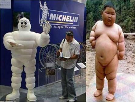 Tout le monde connait la marque de pneus Michelin et sa fameuse mascotte blanche aux formes très rondes. Et bien on l'a retrouvé dans la vraie vie :