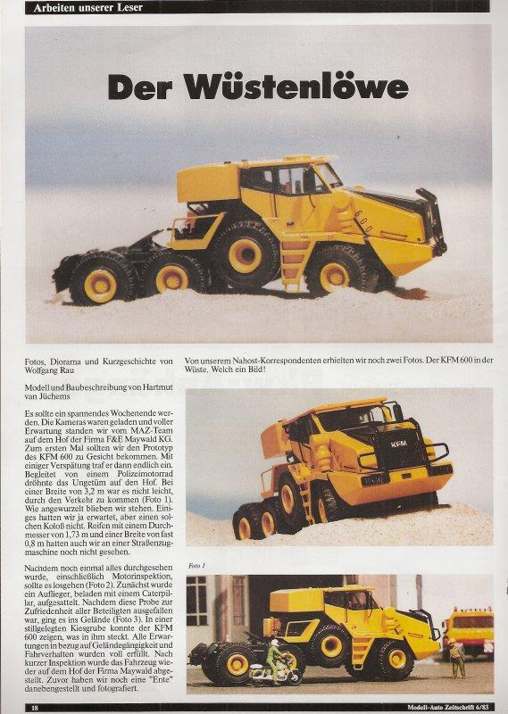 ARTICLE DE LA REVUE MODELL AUTO 1/87 DE JUIN 83 SUR MODELE DU KFM 600 AU 1/87