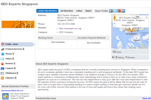 SEO Expert Singapore Business profile