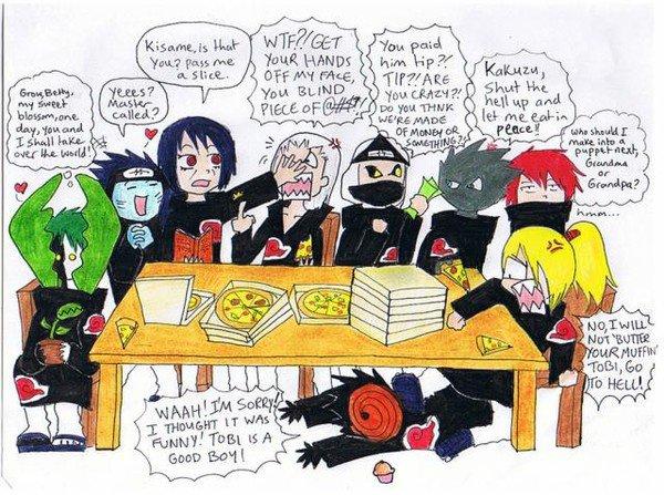 voila comment toute la bande de l'akatsuki se conduise en mangeant c affigeant -_-'''''''''''
