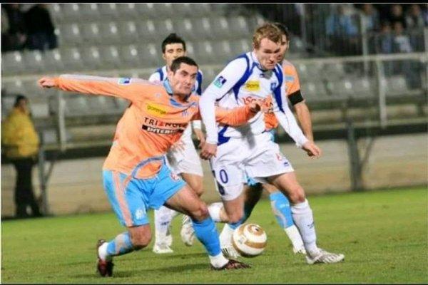 Maillot coupe de la ligue 2008 AJA-OM de Rodriguez