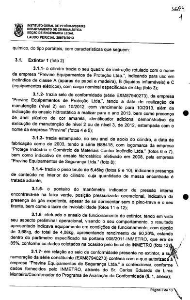 Documentos da Polícia Civil de Santa Maria - Extintores da Boate da Morte