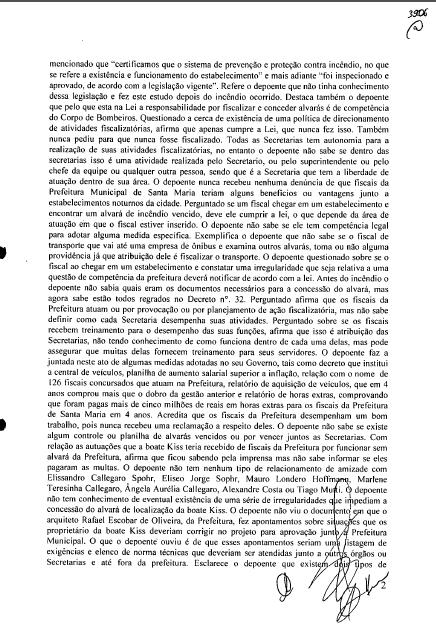 Documento da Polícia Civil de Santa Maria: Depoimento do Prefeito Cezar Schirmer, 8/3/2013
