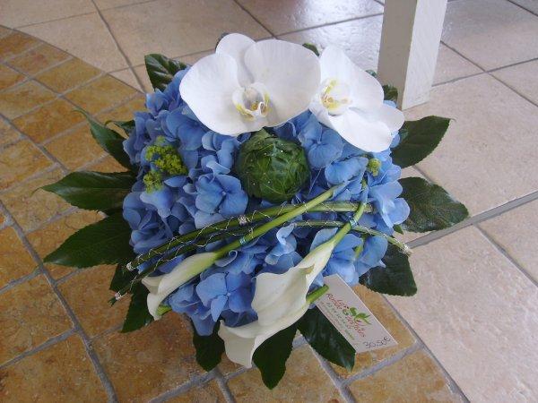 Mise en valeur d'une tete d'hortensia => Bouquet rond