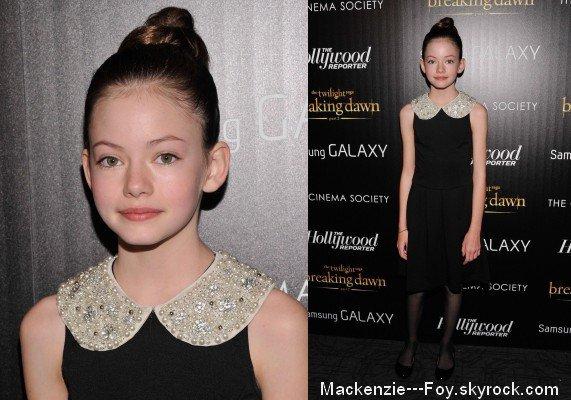 """Mackenzie aux avant-premières de """" Twilight chapitre 4 : Révélation 2ème partie """" ! [ article 3 ]"""