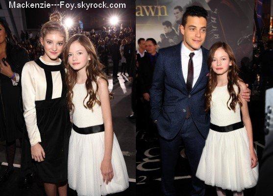 """Mackenzie aux avant-premières de """" Twilight chapitre 4 : Révélation 2ème partie """" ! [ article 1]"""