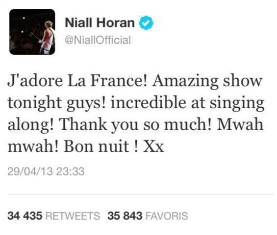 Niall écrit en français et parle de la France sur Twitter=)