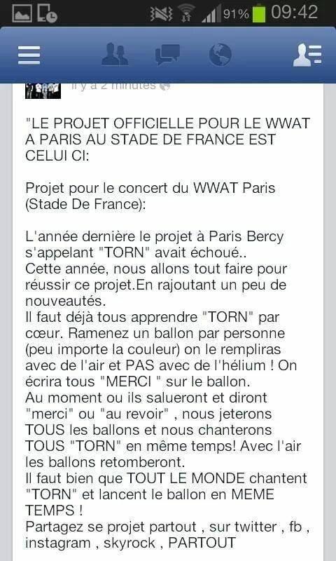 les projet du were we are tour Paris stade de france :) <3 <3 <3