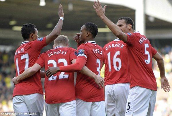 Norwich City   1  Holt (83)  Manchester United   2  Scholes (7), Giggs (90)