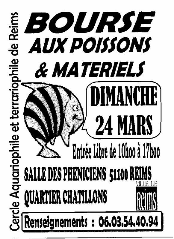 REIMS (51) - BOURSE aux POISSONS et OISEAUX  LE 24 MARS 2013