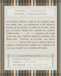 ♣ HuntersWinchester''~ Saison 01 - Épisode 07''. . . . . . . . . . . . . . . . . . . . . . . . . . . .''Création | Décoration | Newsletter